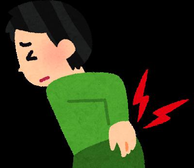 腰痛で辛そうにしている男性のイラスト|名古屋